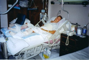 My lying in hospital bed